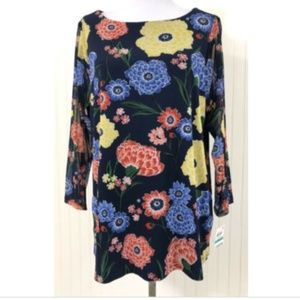 Charter Club NWT Blouse Floral Lined 3/4 Sleeves